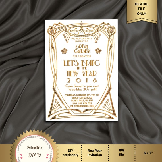 New Years Eve Party Invitation 1920s Great Gatsby Party Etsy
