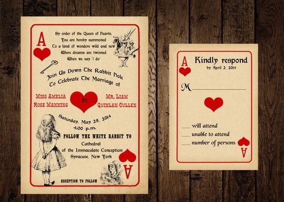 Schön Druckbare Alice In Wonderland Hochzeitseinladung Und Response