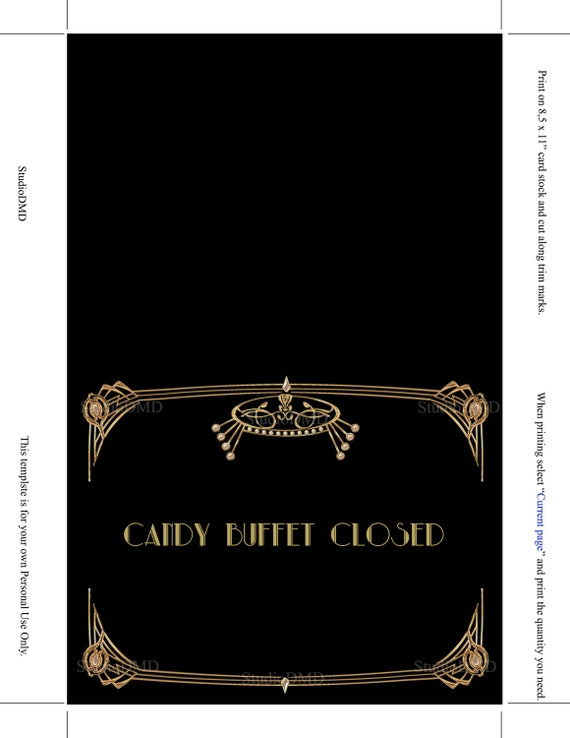 Microsoft Word Format 4 sizes Great Gatsby Style Art Deco Template EDITABLE TEXT DOWNLOAD Instantly Quote Birthday Sign GG06 Poster