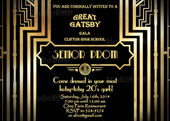 Great Gatsby Style Art Deco Prom Invitation Roaring Twenties 1920 S 20 S Style Black And Gold Senior Prom Pre Prom Printable Diy