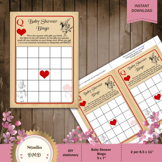 Printable Bingo Baby Shower Game Card Template Alice In Etsy