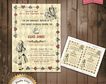 Alice in Wonderland Mad Hatter Bridal Shower Tea Party Invitation - DOWNLOAD Instantly - EDITABLE TEXT in Word