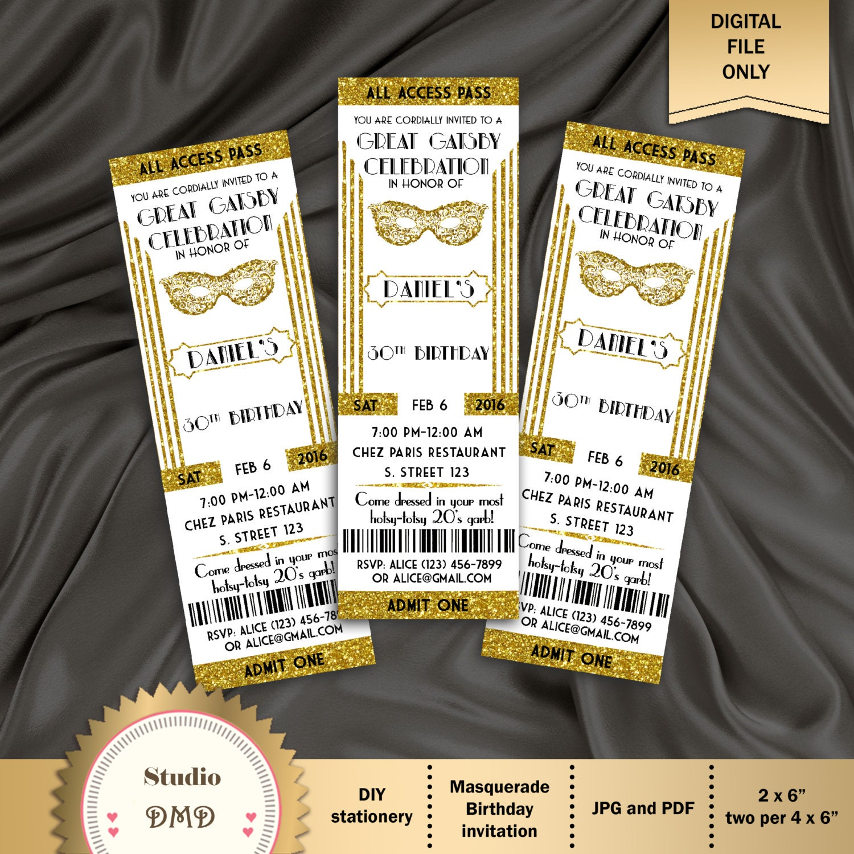 Great Gatsby Style Art Deco Party Invitation Masquerade | Etsy