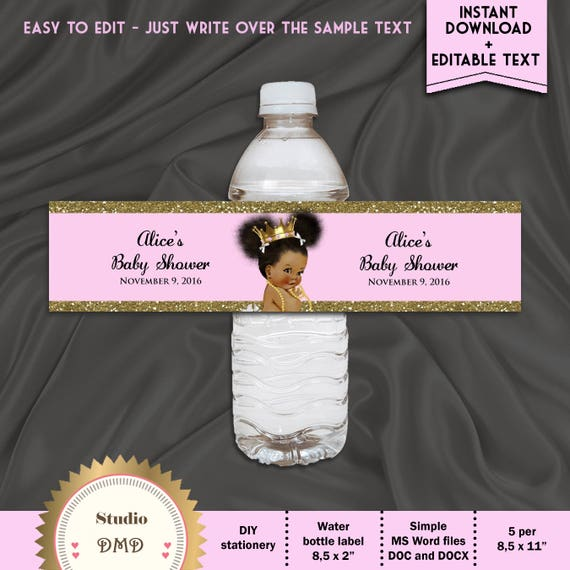 Printable Pink And Gold Baby Shower Water Bottle Labels Etsy