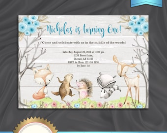 Woodland Birthday Invitation, Forest Friends, Forest Animals Invitation, Enchanted Forest, Boy Birthday Invitation, Floral - Printable DIY