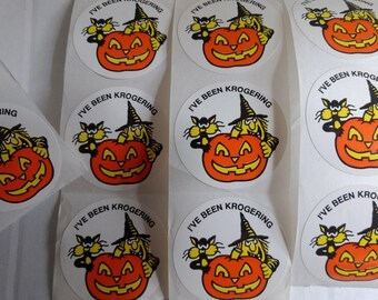 vintage ive been krogering krogers halloween sticker lot advertising collectible htf witch black cat pumpkin promo