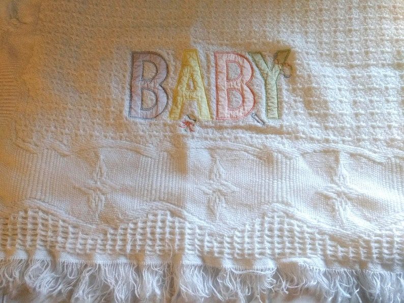 Baby New Vtg Yellow Acrylic Thermal Baby Blanket Nylon Bunding Made In Usa Blankets & Throws