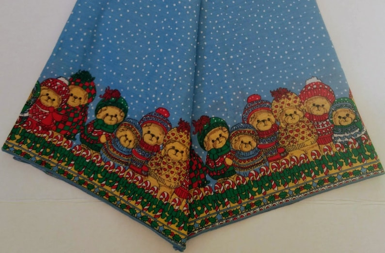 Vintage Lucy Rigg Christmas Tablecloth Teddy Bear Book Cookies Candy Canes Snow Lot Rectangular Decor