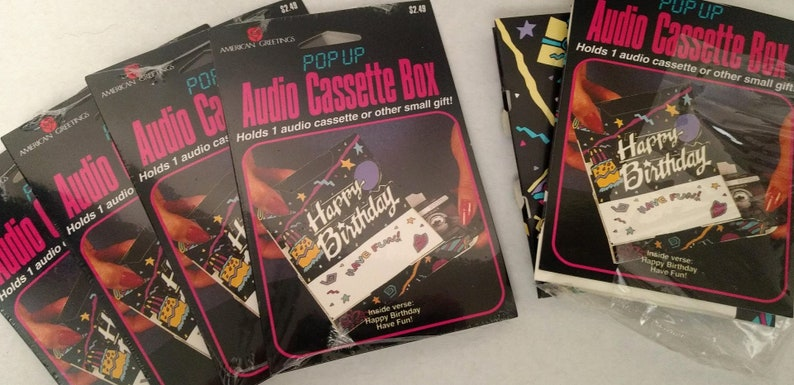 Music Vintage Audio Cassette Tape Happy Birthday Box New 3d Packaging Pop Up Gift Lot