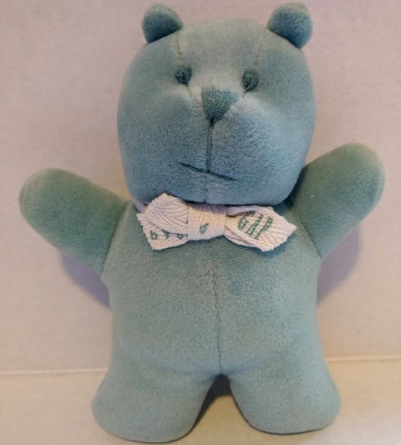 Vintage Baby Gap Rattle Blue Green Velour Soft Ted