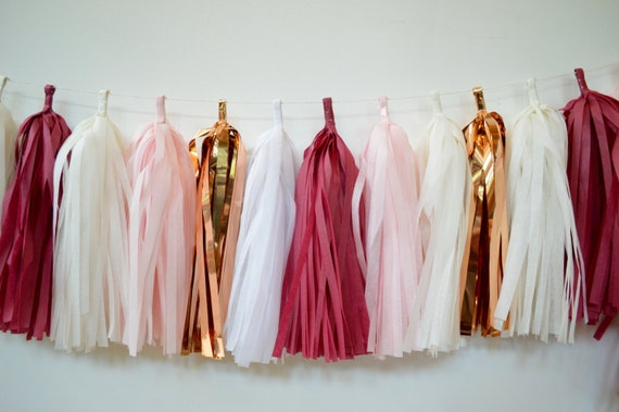 and Blush Pink Tassel Garland Bridal Shower Decor Burgundy Gold Maroon Tassel Garland Gold Party Decor Baby Shower Decor