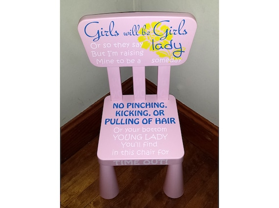 personalized children 39 s time out chair for girl 39 s. Black Bedroom Furniture Sets. Home Design Ideas