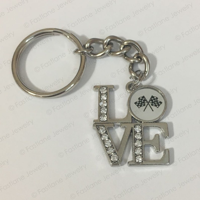 LOVE Racing Checkered Flag Keychain Racing Jewelry by image 0