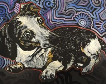 CUSTOM Pet Portrait Art by Matt Pecson Custom Dog Portrait Custom Cat Portrait Custom Portrait Painting Dauschund Weiner Dog Art