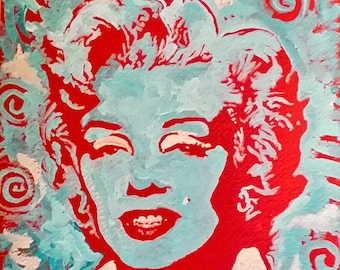 Marilyn Monroe Art by Matt Pecson Wall Decor Home Decor Red Blue Pop Art Painting Canvas Wall Art Girlfriend Gift for Her MADE TO ORDER