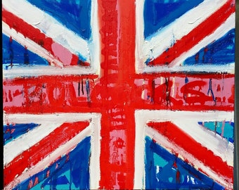 British Flag Decor by Matt Pecson MADE TO ORDER Union Jack Flag Wall Art English Pop Art United Kingdom Red White and Blue Painting