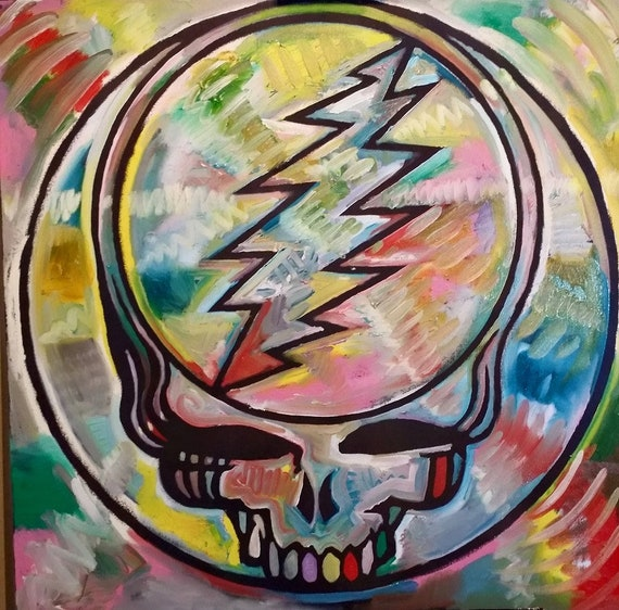 Grateful Dead Art Steal Your Face Original Painting by Matt | Etsy