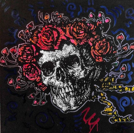 Grateful Dead Art Skull and Roses Art By Matt Pecson Gothic | Etsy