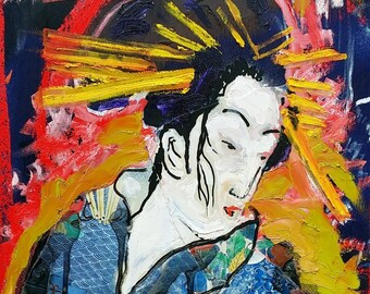 Original Geisha Painting by Matt Pecson Mixed Media Art Japanese Art Asian Art Asian Wall Art Japanese Geisha Art MADE TO ORDER