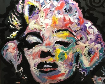 Colorful Marilyn Monroe Original Painting on Canvas Wall Art by Matt Pecson, MADE TO ORDER Pop Art Painting Bedroom Decor Gift for Her