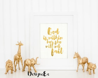 Foil Print - God is within her, she will not fail
