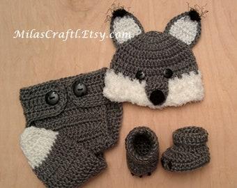 f163325d4e9 Crochet Baby Wolf Set  Hat
