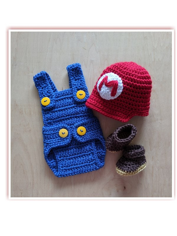 Mario or Luigi Baby Boy Set: Hat, Romper and Booties