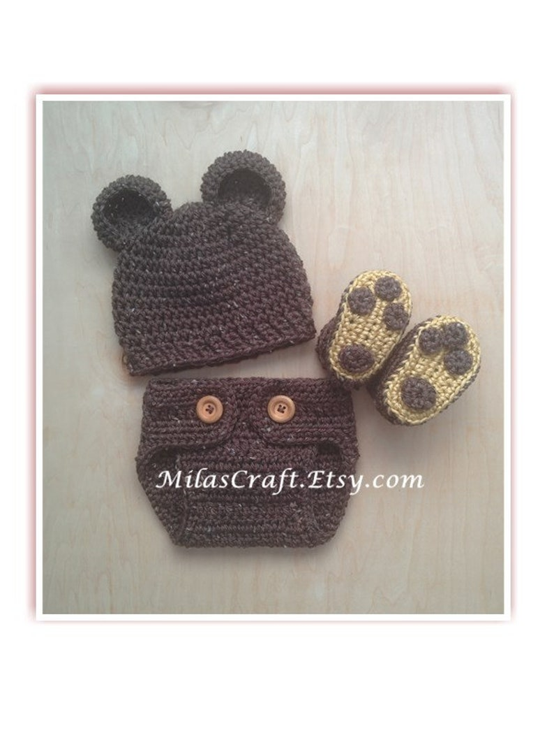 09530a1d7 Baby Teddy Bear Set: Hat with ears, Diaper Cover, Booties with paw, Crochet  set, Newborn Coming Home Outfit, Baby Shower Gift, Photo Prop