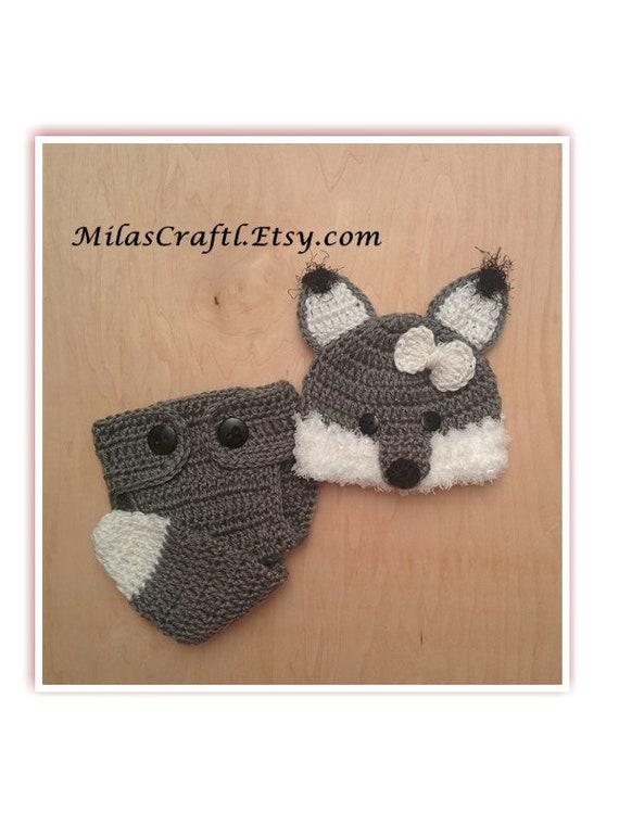 Häkeln Baby Wolf oder Fuchs Set: Mütze Windel-Abdeckung Set | Etsy