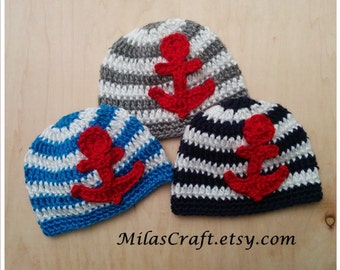 Nautical Baby Hat, Anchor Hat, Crochet Baby Hat with Stripes, Nautical Newborn Outfit, Patriotic Hat, 4th of July, Photo Prop