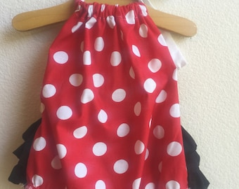 5a506ec1288 Disney Inspired Minnie Mouse Baby Girl Romper. Baby Girl Romper. Baby Sun  Suit. Baby Bubble Romper.