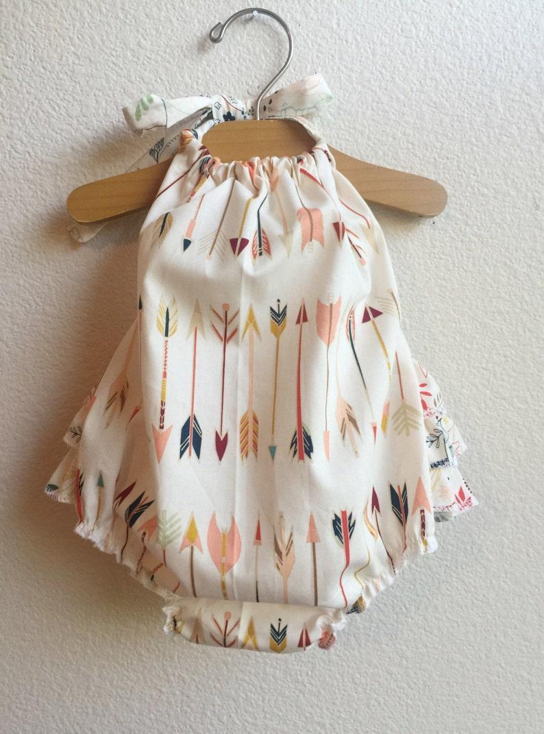 4440f9c8383a Little Arrows Ruffled Baby Girl Romper. Baby Girl Romper. Baby