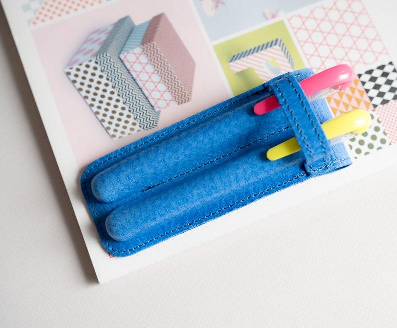 Pen Case Leather Etui For 2 Pens Teacher Gifts Pencil Case Personalized Blue Pen Case Graduation Gift Pen Sleeve Fountain Pen