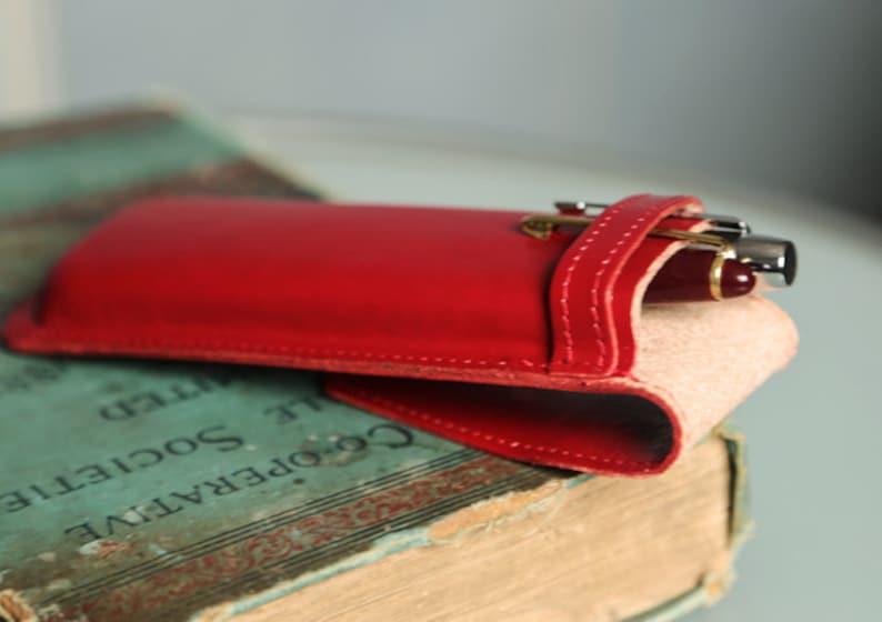 Leather pencil case Organizer. Red Valentines Day gift for her Love gift Pencil case Valentines Day pencil case Leather pen case