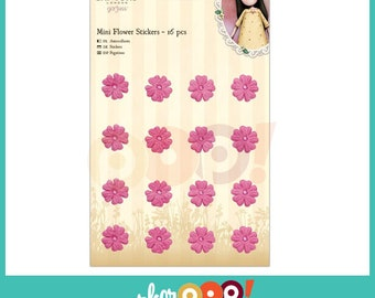 Gorjuss Mini Flower Stickers Set Of 12 - Pink