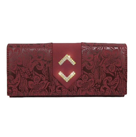 Ruby Red Wallet Beautiful Red Wallet Luxury Wallet Elegant Ruby Wallet Flap Wallet Floral Wallet Red Diamon Wallet Wallet With Flap