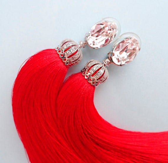 Royal Red with Crown Long tassel earrings MANY COLORS Luxury red earrings Tassel pearl earrings Luxury tassel earrings Dangle earrings