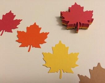 60 Die Cut Fall Maple Leaves-15 of each color