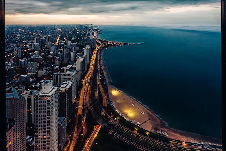 Chicago, USA, America, Lake Michigan, Chicago Photography, aerial,  twilight, Wall Decor, Home Decor, blue, desaturated, Lake Shore Drive