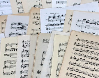 25 All Different Large Old Sheet Music Vintage Hymn Piano Book Antique Craft Paper Ephemera Christian Scrapbook Organ Supplies Guitar Notes