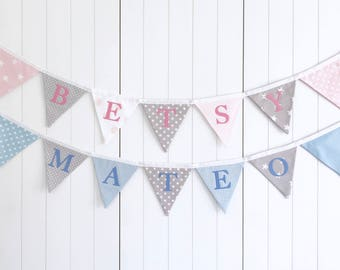 Fabric Name Bunting - Personalised Bunting - Pink Grey - Blue Grey - Name Banner - Nursery Bunting - New Baby Gift - Baby Shower Bunting