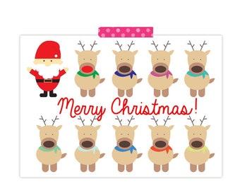 Cute Christmas Card- Reindeer Card- Santa Card- Merry Christmas Card- Holiday and Seasonal Card