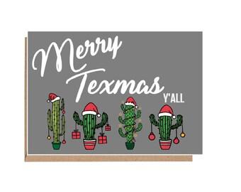 merry texmas card merry christmas yall texas christmas card christmas cactus christmas cactus card texas holiday - Texas Christmas Cards