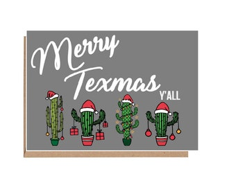 merry texmas card merry christmas yall texas christmas card christmas cactus christmas cactus card texas holiday