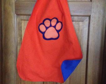 Orange Paw Print Kids Superhero Cape/Costume