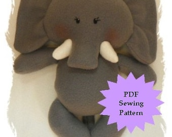 Stuffed Animal Sewing Pattern, Plush Sewing Pattern PDF - Elephant, Softie, Plushie - Instant Download, DIY