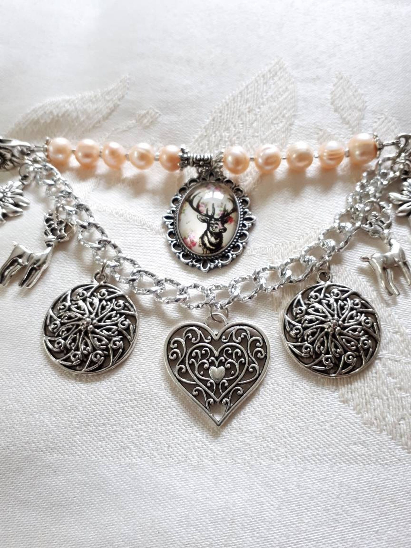 Charivari for dirndl costumes jewelry with freshwater pearl/edelweiss and deer/dirndl jewelry with heart/Oktoberfest/costumes wedding/Wiesn