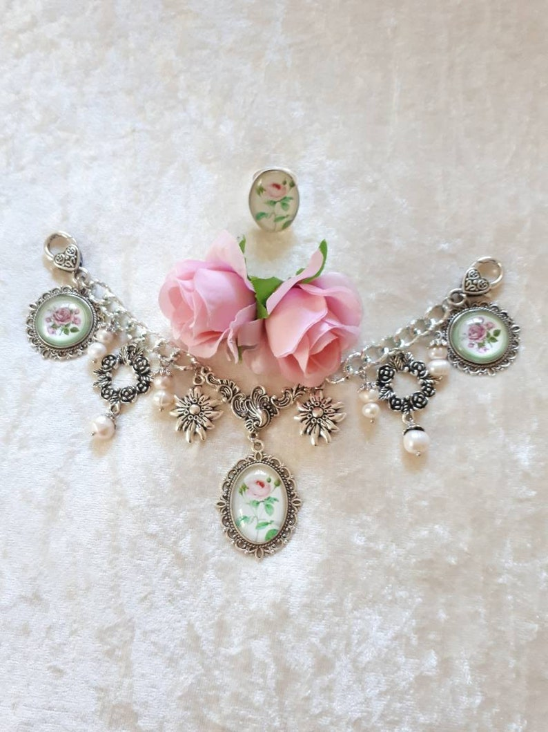 Trachten Set selectable with ring Dirndl jewelry with freshwater pearls Edelweiss Oktoberfest costumes wedding Wiesn Roses Charivari for the Dirndl