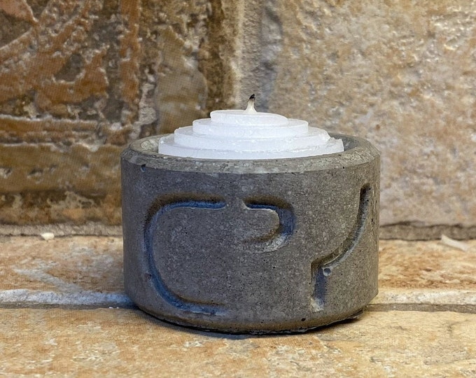Featured listing image: Tansi ᑕᐣᓯ - Cree Syllabic Concrete Candle Holder for small Votive Candles - Indigenous Made In Winnipeg Manitoba