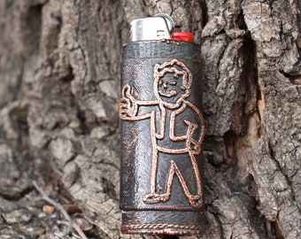 Fallout inspired Vault - Tec Vault Boy Copper Bic Lighter Case